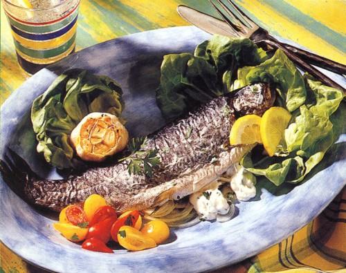 рецепты вторых блюд форель с чесноком