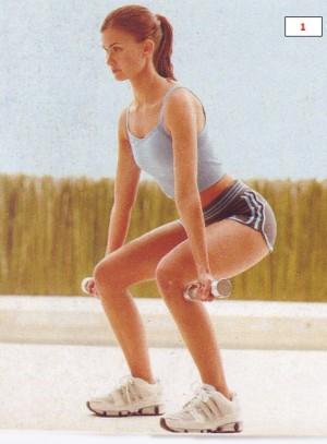 Комбинированное приседание упражнение для фитнеса
