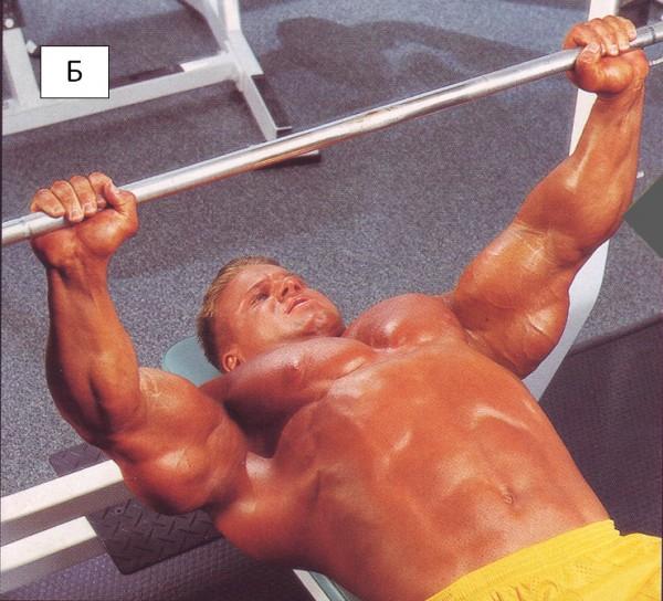 упражнение для груди жим на горизонтальной скамье