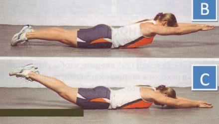 Упражнения для спины Обратные подъемы корпуса и ног